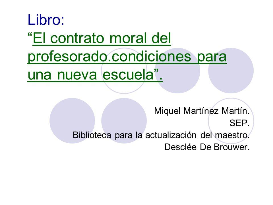 Libro: El contrato moral del profesorado