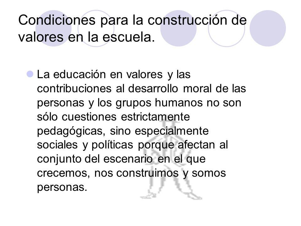 Condiciones para la construcción de valores en la escuela.