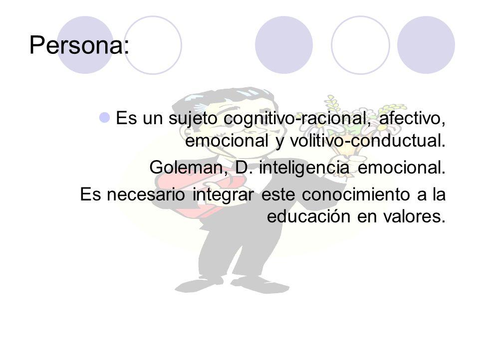Persona: Es un sujeto cognitivo-racional, afectivo, emocional y volitivo-conductual. Goleman, D. inteligencia emocional.