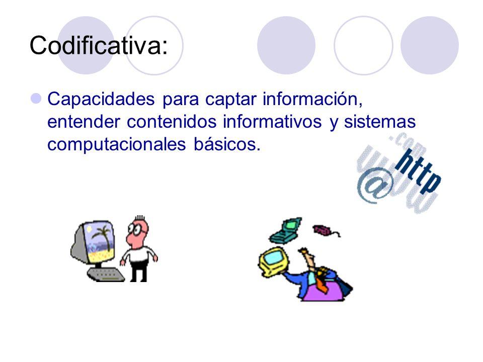 Codificativa: Capacidades para captar información, entender contenidos informativos y sistemas computacionales básicos.