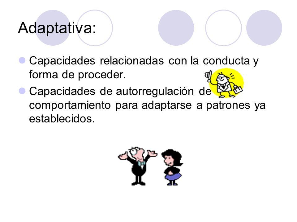 Adaptativa: Capacidades relacionadas con la conducta y forma de proceder.