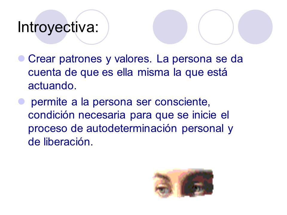 Introyectiva: Crear patrones y valores. La persona se da cuenta de que es ella misma la que está actuando.