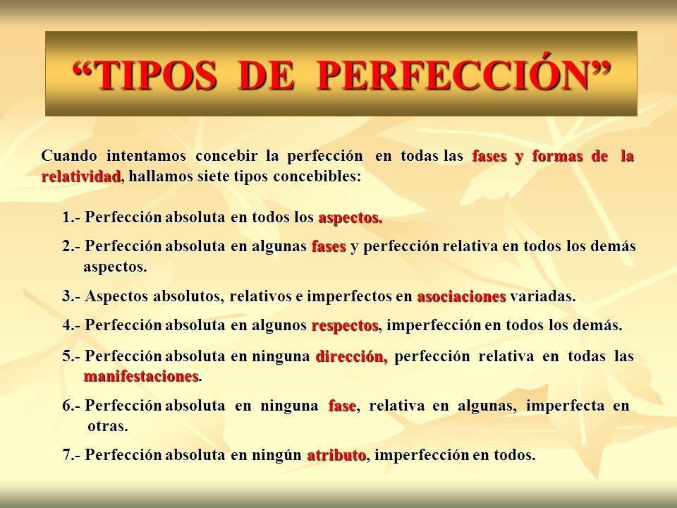 TIPOS DE PERFECCIÓN Cuando intentamos concebir la perfección en todas las fases y formas de la.