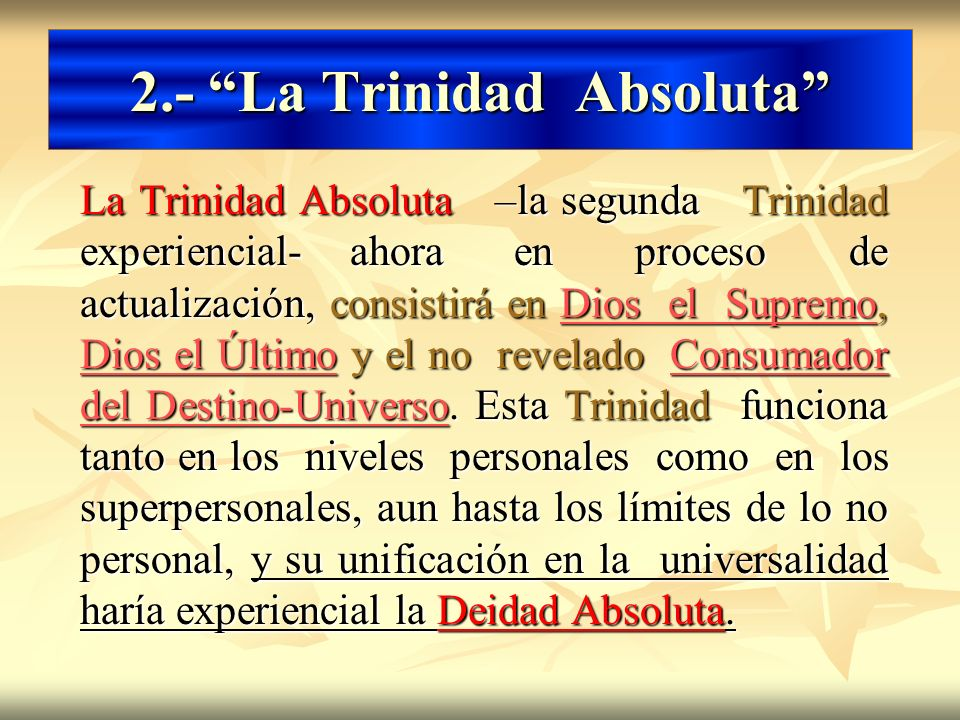 2.- La Trinidad Absoluta