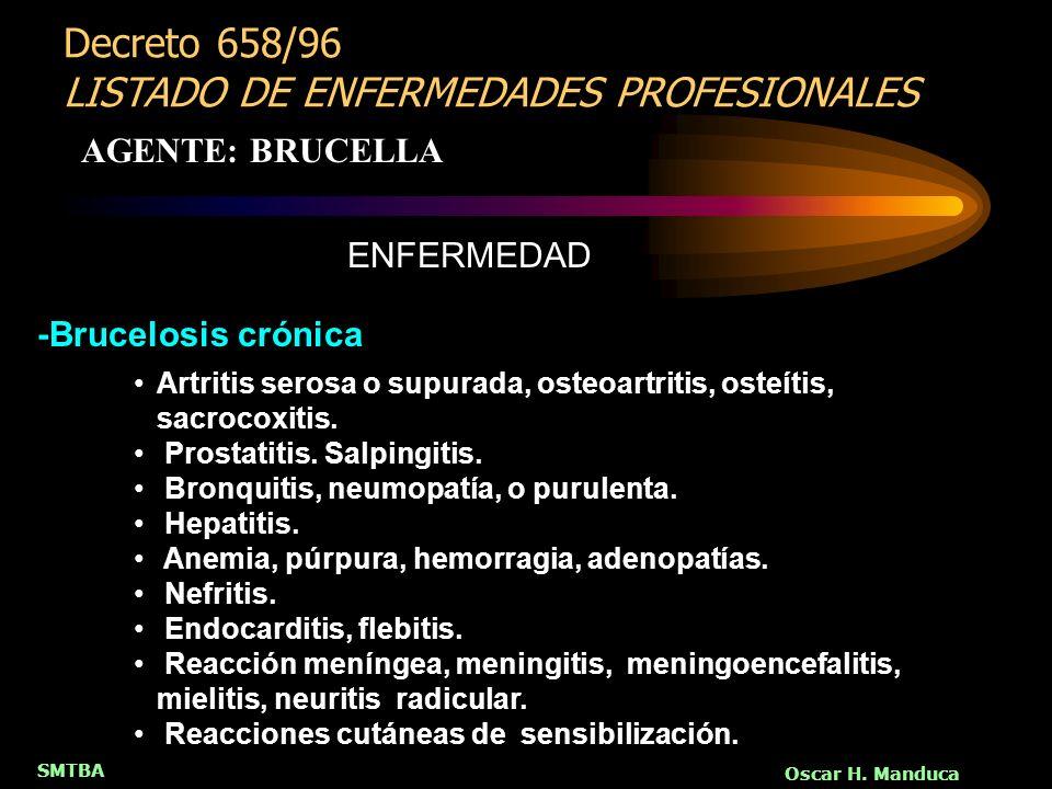 Decreto 658/96 LISTADO DE ENFERMEDADES PROFESIONALES