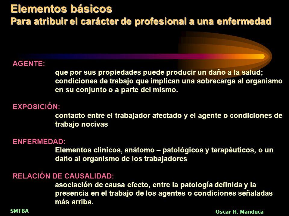 Elementos básicos Para atribuir el carácter de profesional a una enfermedad. AGENTE:
