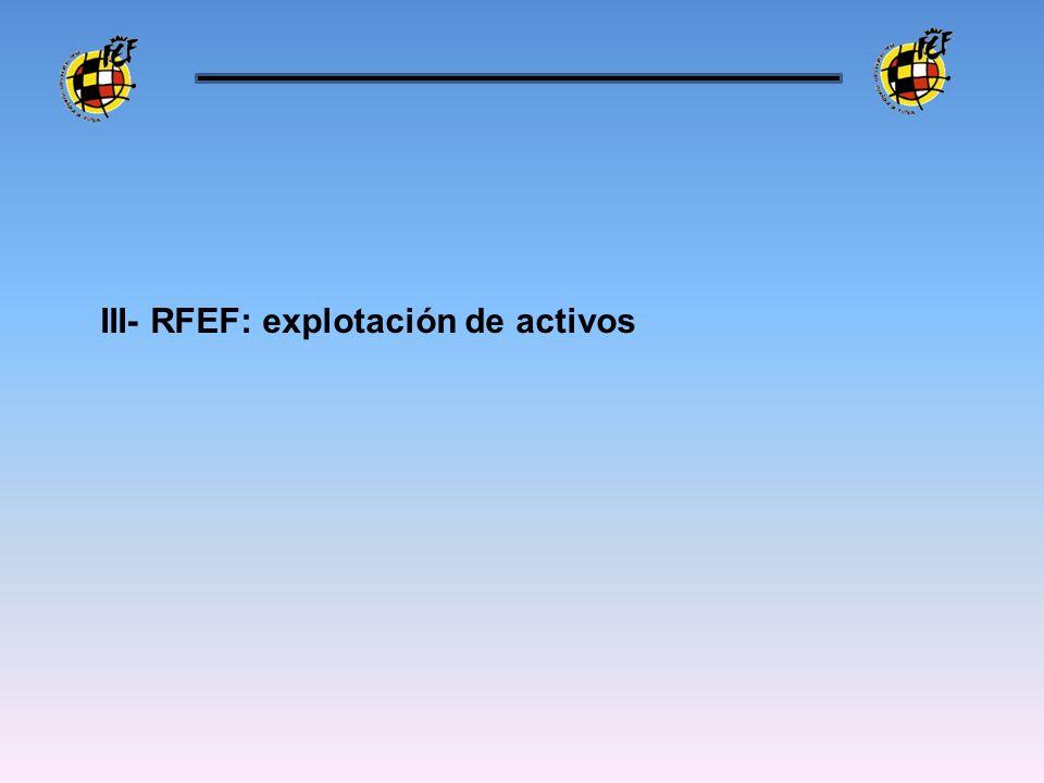 III- RFEF: explotación de activos