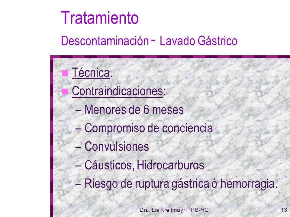 Tratamiento Descontaminación - Lavado Gástrico