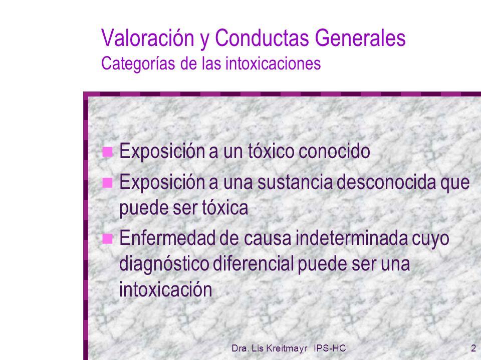 Valoración y Conductas Generales Categorías de las intoxicaciones