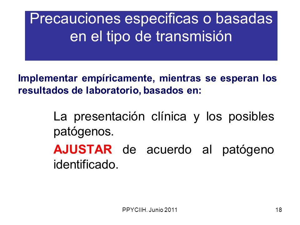 Precauciones especificas o basadas en el tipo de transmisión