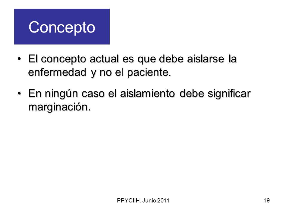 Concepto El concepto actual es que debe aislarse la enfermedad y no el paciente. En ningún caso el aislamiento debe significar marginación.