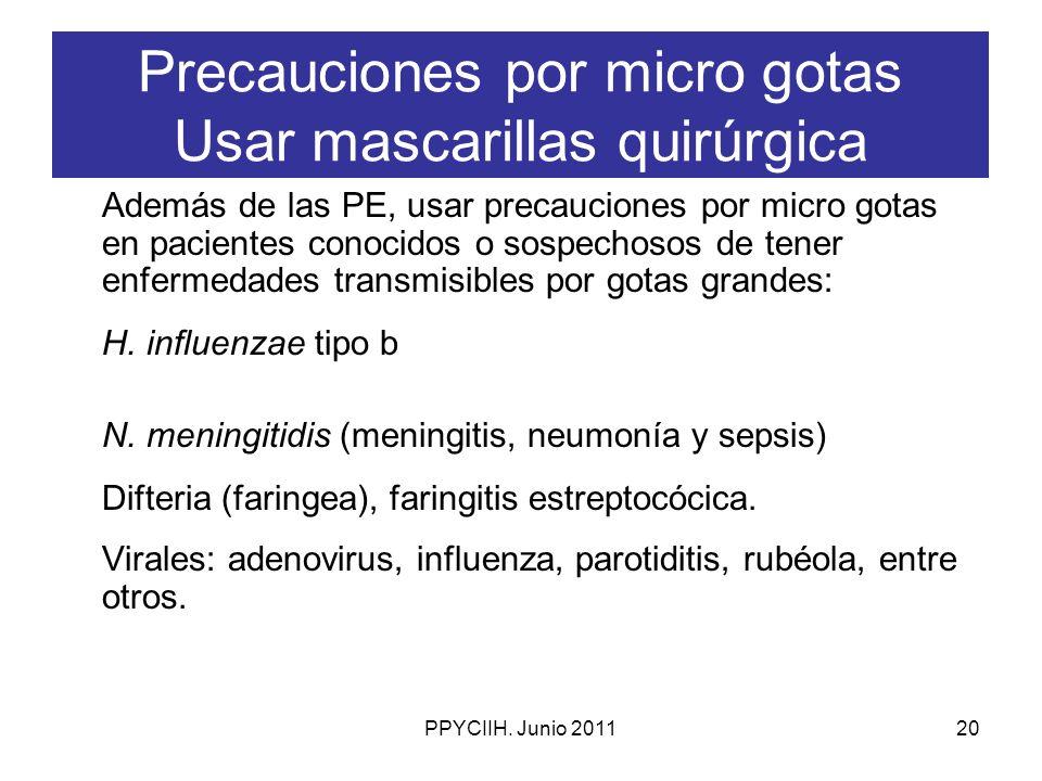 Precauciones por micro gotas Usar mascarillas quirúrgica