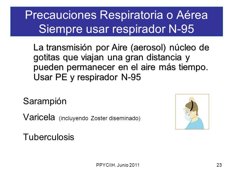 Precauciones Respiratoria o Aérea Siempre usar respirador N-95
