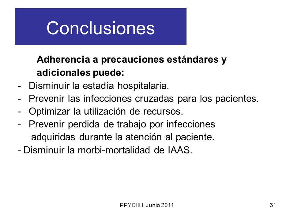 Conclusiones Adherencia a precauciones estándares y adicionales puede:
