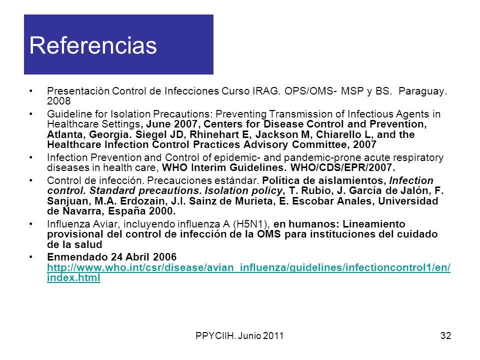 Referencias Presentaciòn Control de Infecciones Curso IRAG. OPS/OMS- MSP y BS. Paraguay. 2008.