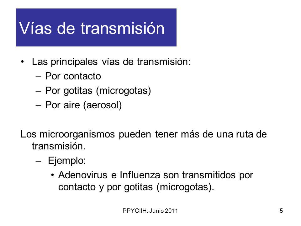 Vías de transmisión Las principales vías de transmisión: Por contacto