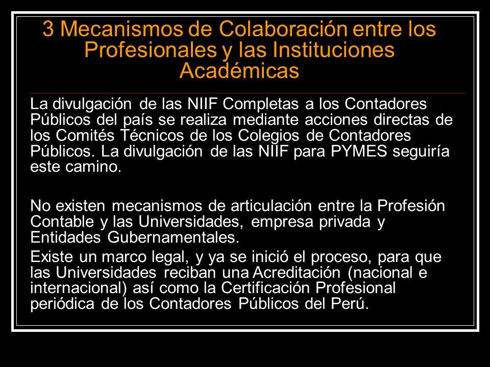 3 Mecanismos de Colaboración entre los Profesionales y las Instituciones Académicas