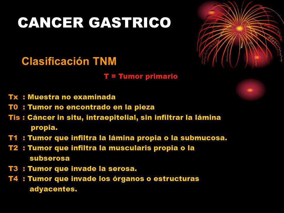 CANCER GASTRICO Clasificación TNM T = Tumor primario