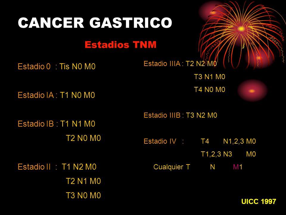 CANCER GASTRICO Estadios TNM Estadio 0 : Tis N0 M0