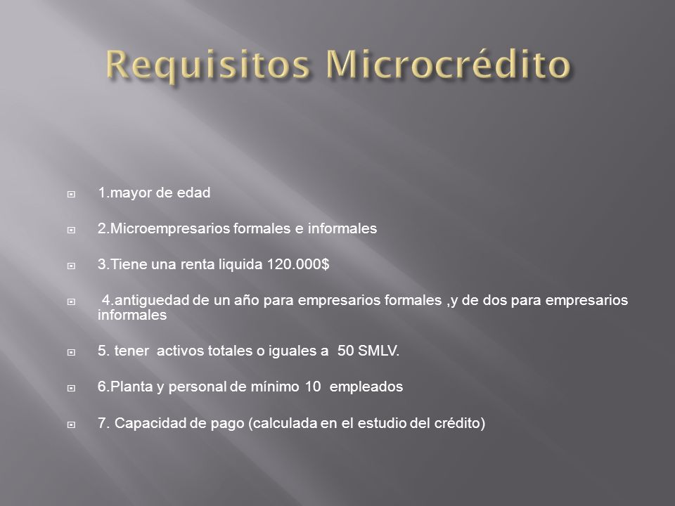 Requisitos Microcrédito
