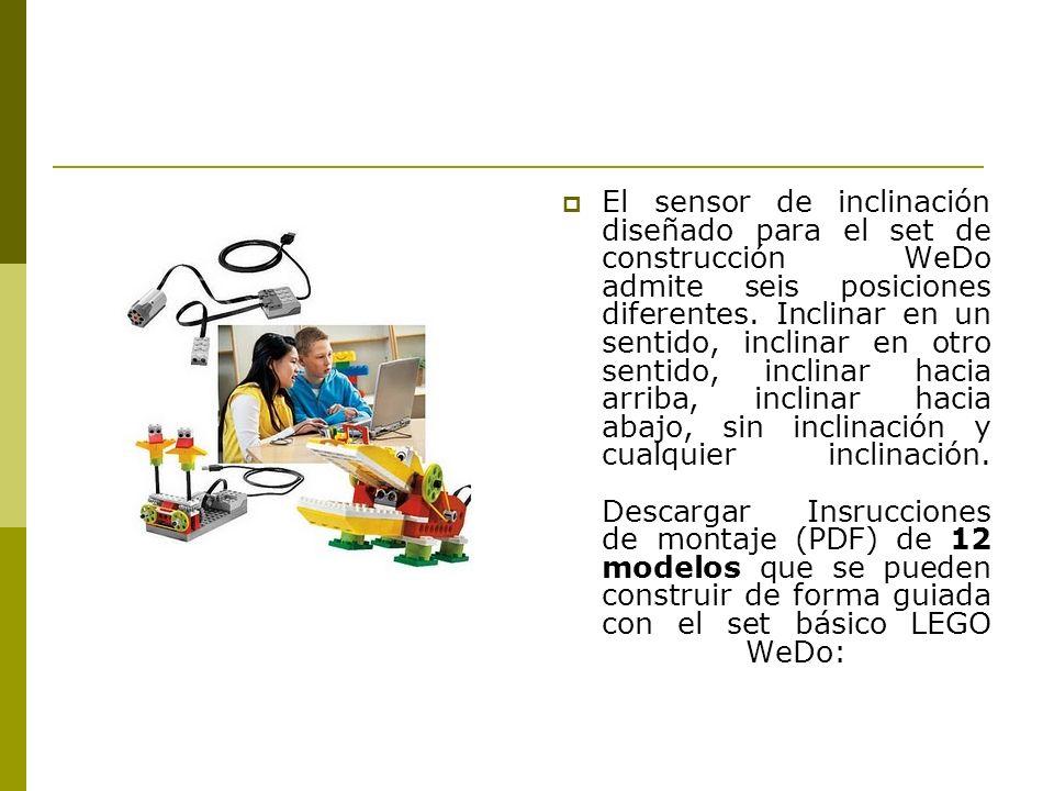 El sensor de inclinación diseñado para el set de construcción WeDo admite seis posiciones diferentes.