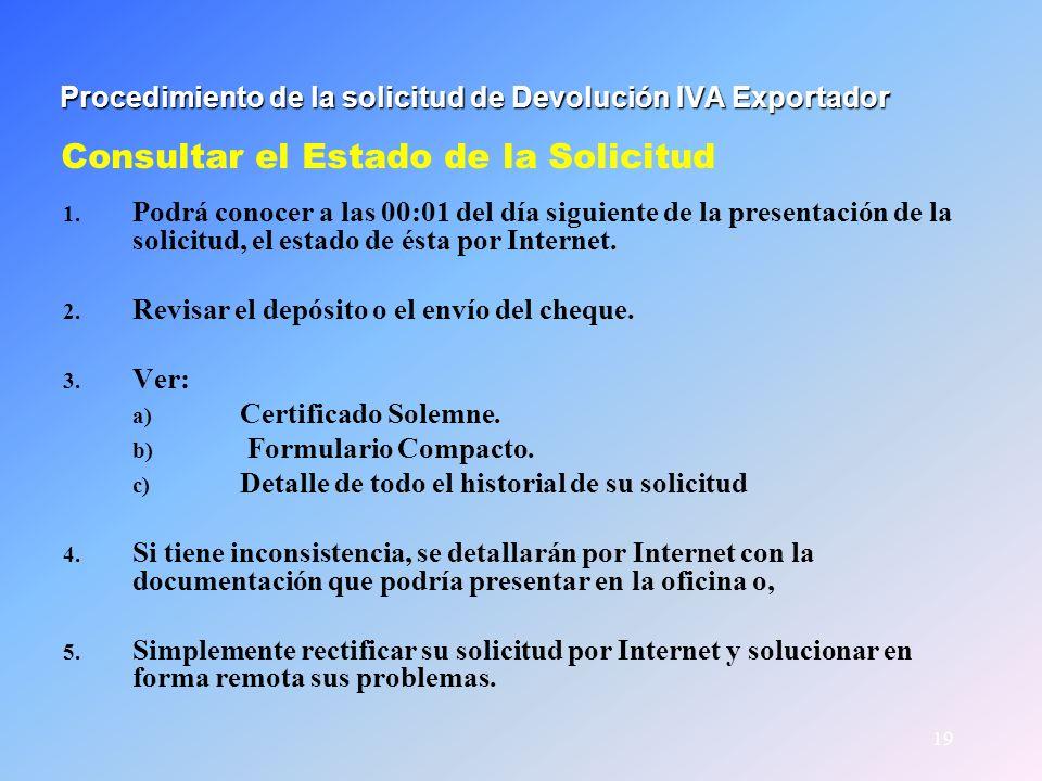 Procedimiento de la solicitud de Devolución IVA Exportador