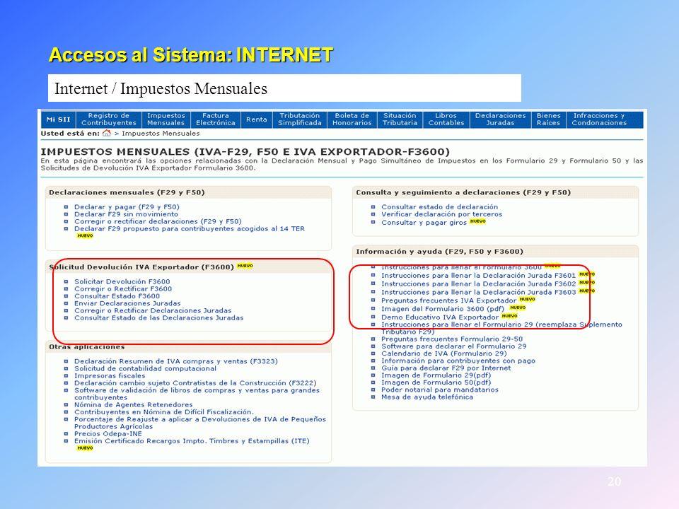 Accesos al Sistema: INTERNET