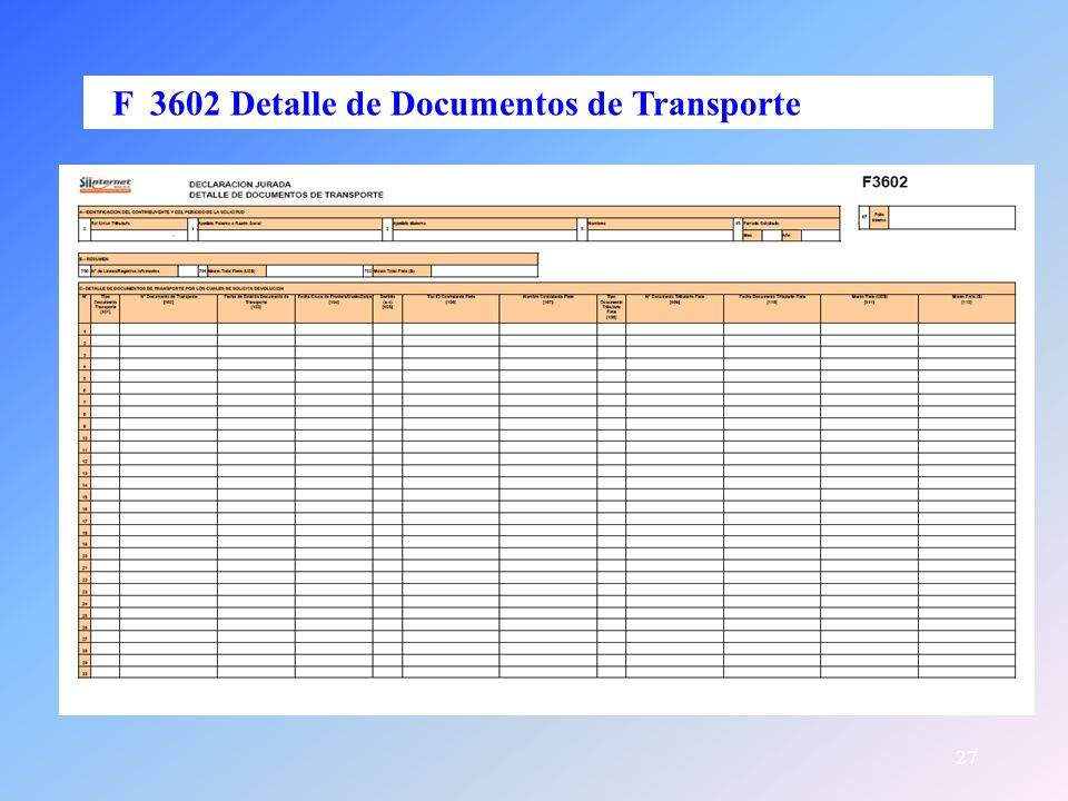 F 3602 Detalle de Documentos de Transporte