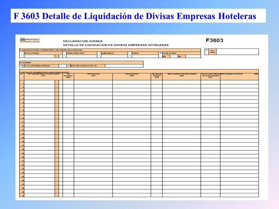 F 3603 Detalle de Liquidación de Divisas Empresas Hoteleras