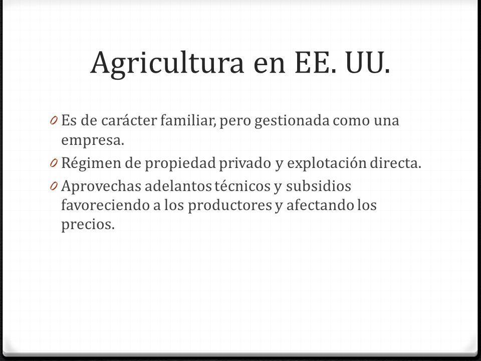 Agricultura en EE. UU. Es de carácter familiar, pero gestionada como una empresa. Régimen de propiedad privado y explotación directa.