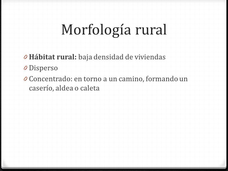 Morfología rural Hábitat rural: baja densidad de viviendas Disperso