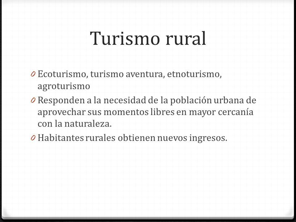 Turismo rural Ecoturismo, turismo aventura, etnoturismo, agroturismo