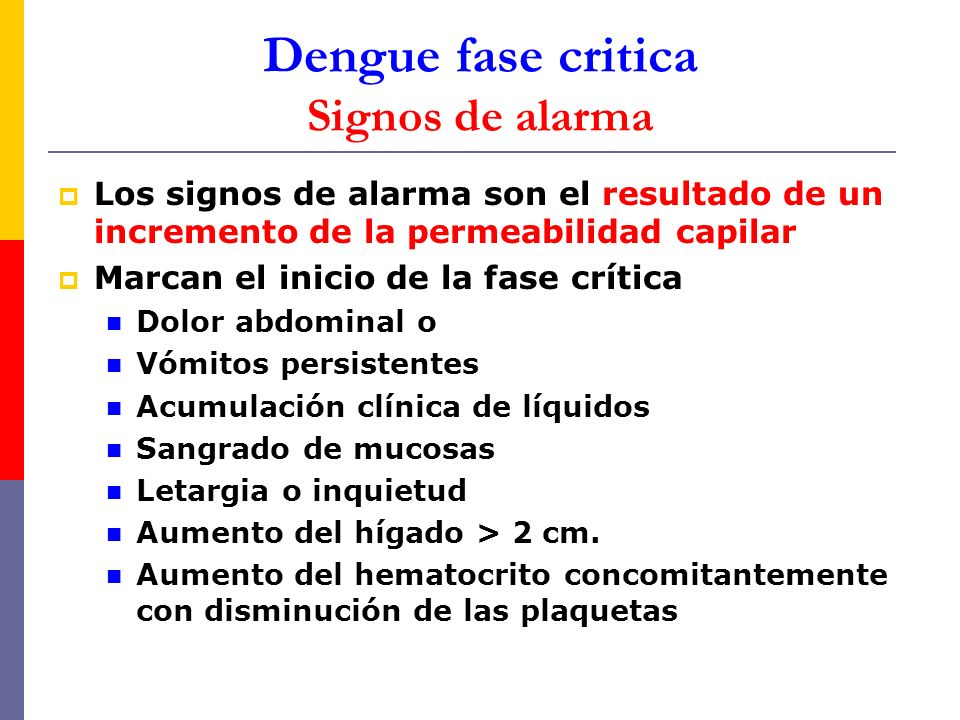 Dengue fase critica Signos de alarma