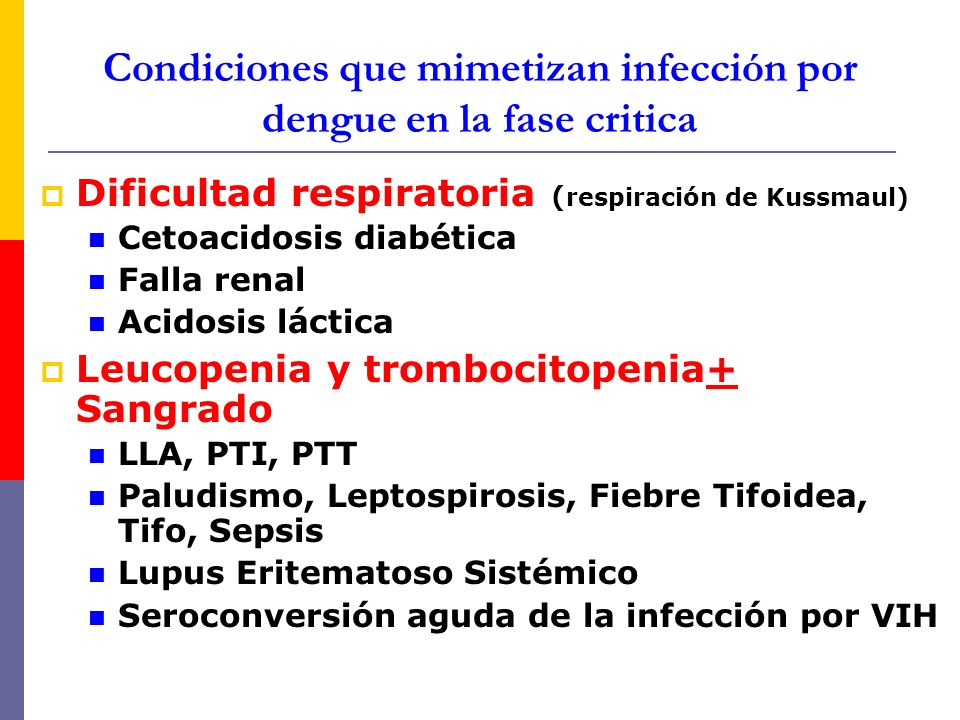 Condiciones que mimetizan infección por dengue en la fase critica