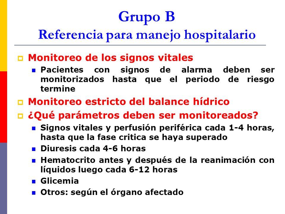 Grupo B Referencia para manejo hospitalario