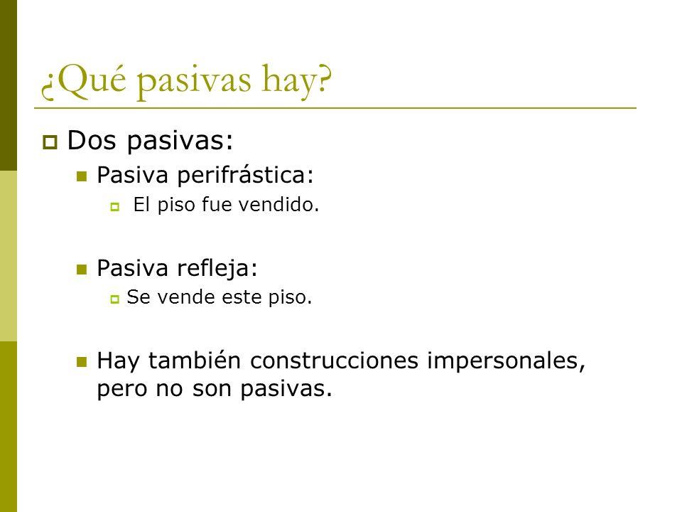 ¿Qué pasivas hay Dos pasivas: Pasiva perifrástica: Pasiva refleja: