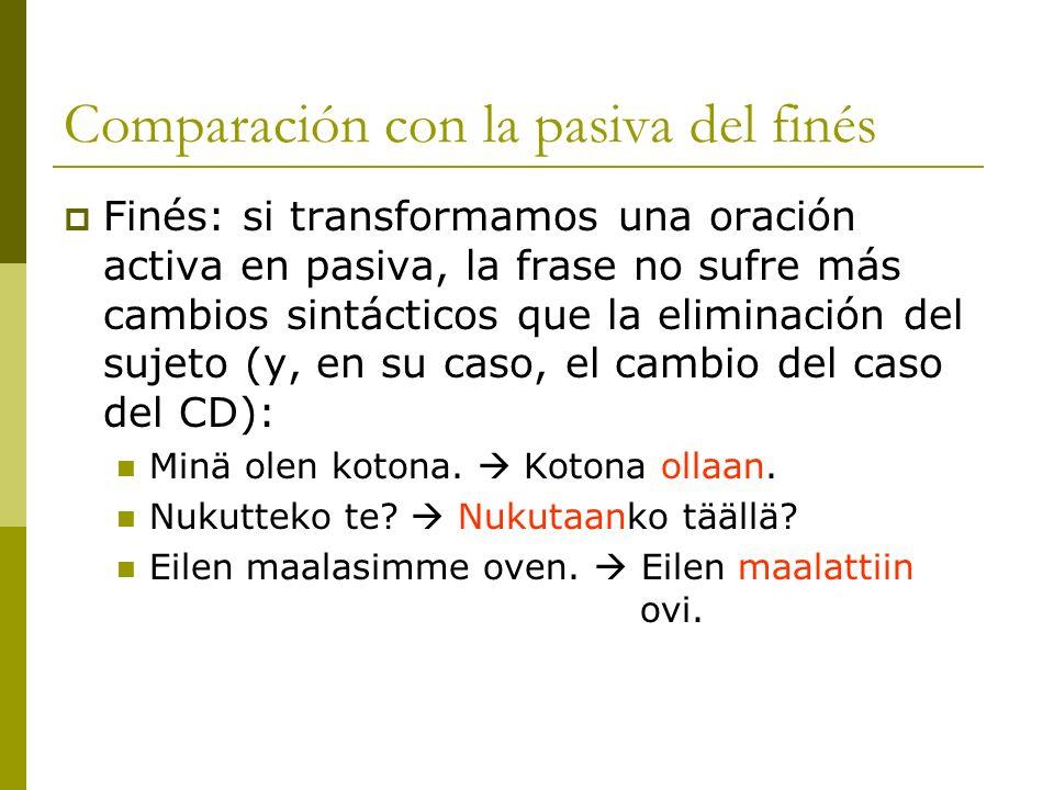 Comparación con la pasiva del finés