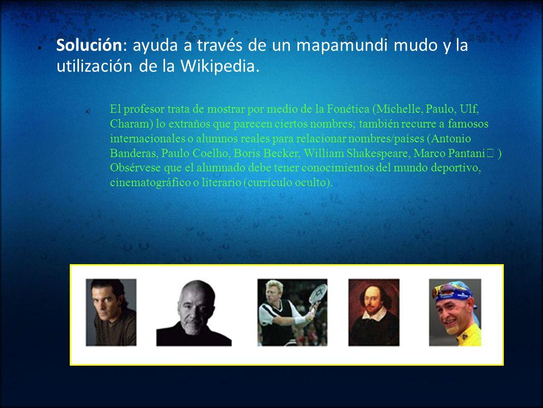 Solución: ayuda a través de un mapamundi mudo y la utilización de la Wikipedia.
