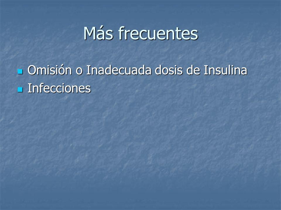 Más frecuentes Omisión o Inadecuada dosis de Insulina Infecciones