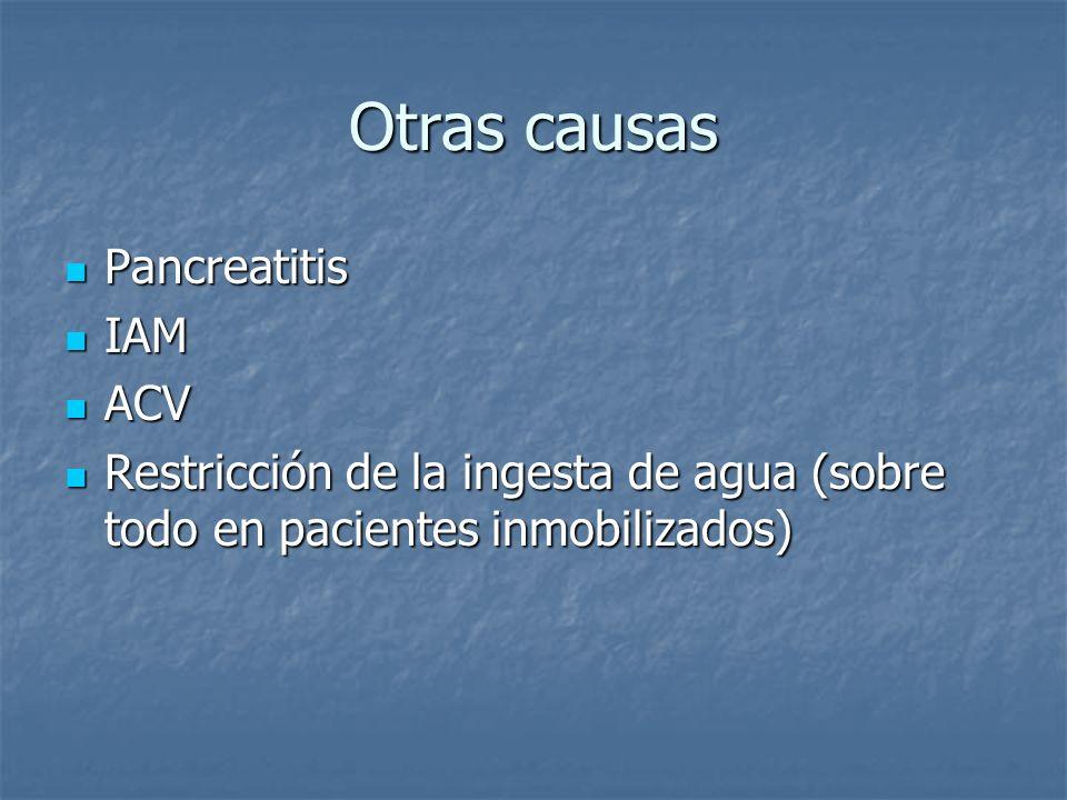 Otras causas Pancreatitis IAM ACV