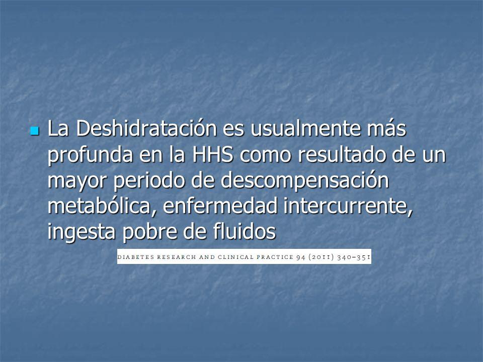 La Deshidratación es usualmente más profunda en la HHS como resultado de un mayor periodo de descompensación metabólica, enfermedad intercurrente, ingesta pobre de fluidos