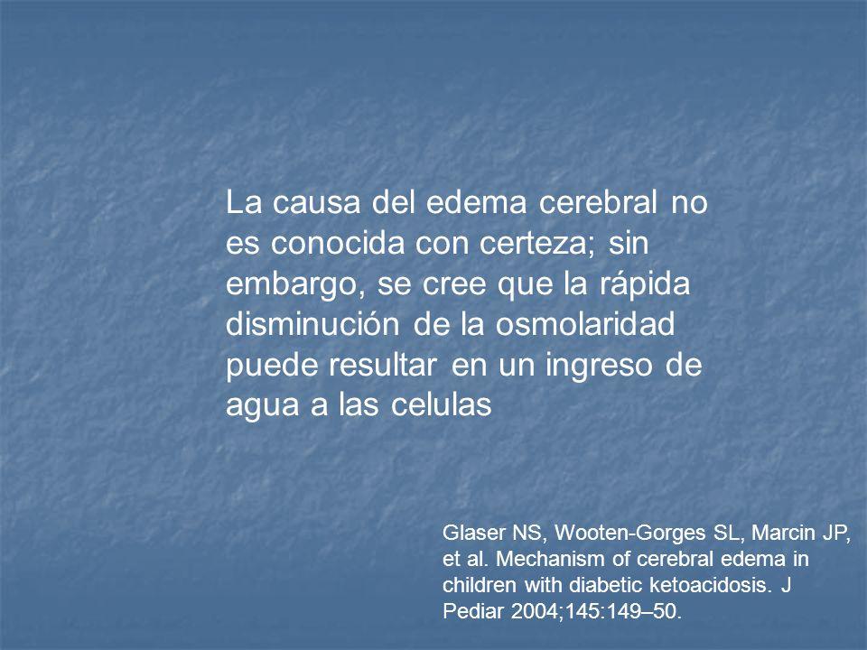 La causa del edema cerebral no es conocida con certeza; sin embargo, se cree que la rápida disminución de la osmolaridad puede resultar en un ingreso de agua a las celulas