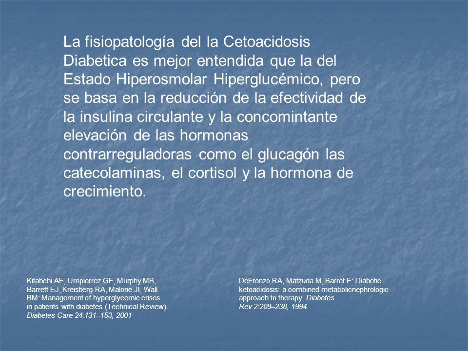 La fisiopatología del la Cetoacidosis Diabetica es mejor entendida que la del Estado Hiperosmolar Hiperglucémico, pero se basa en la reducción de la efectividad de la insulina circulante y la concomintante elevación de las hormonas contrarreguladoras como el glucagón las catecolaminas, el cortisol y la hormona de crecimiento.