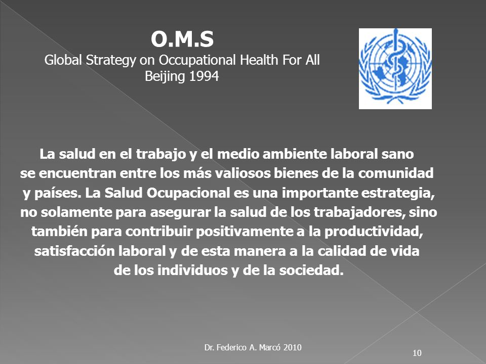 O.M.S Global Strategy on Occupational Health For All Beijing 1994
