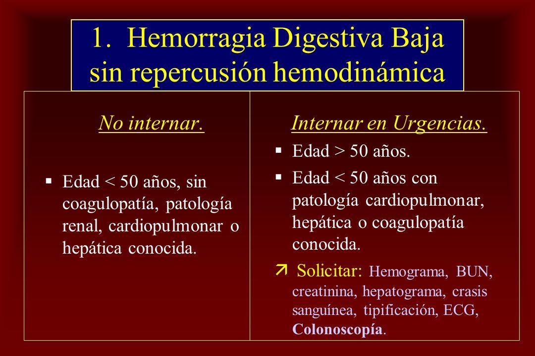 1. Hemorragia Digestiva Baja sin repercusión hemodinámica