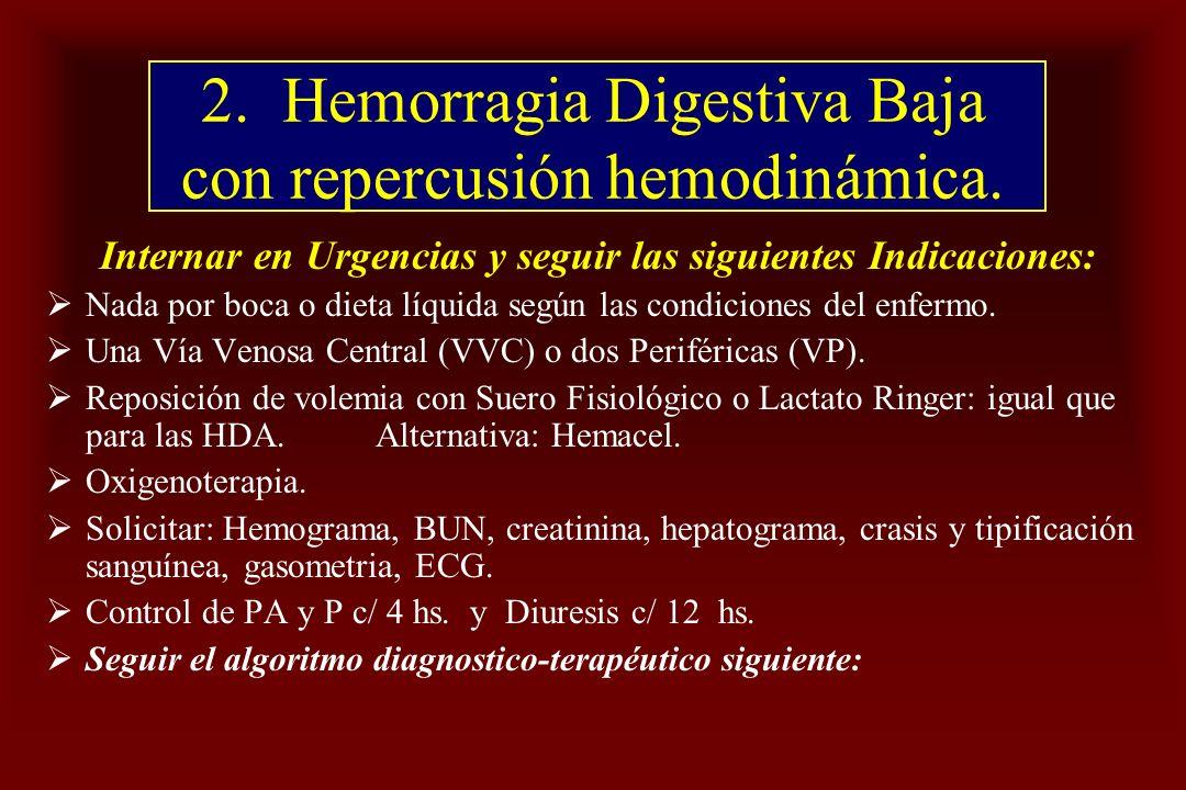 2. Hemorragia Digestiva Baja con repercusión hemodinámica.