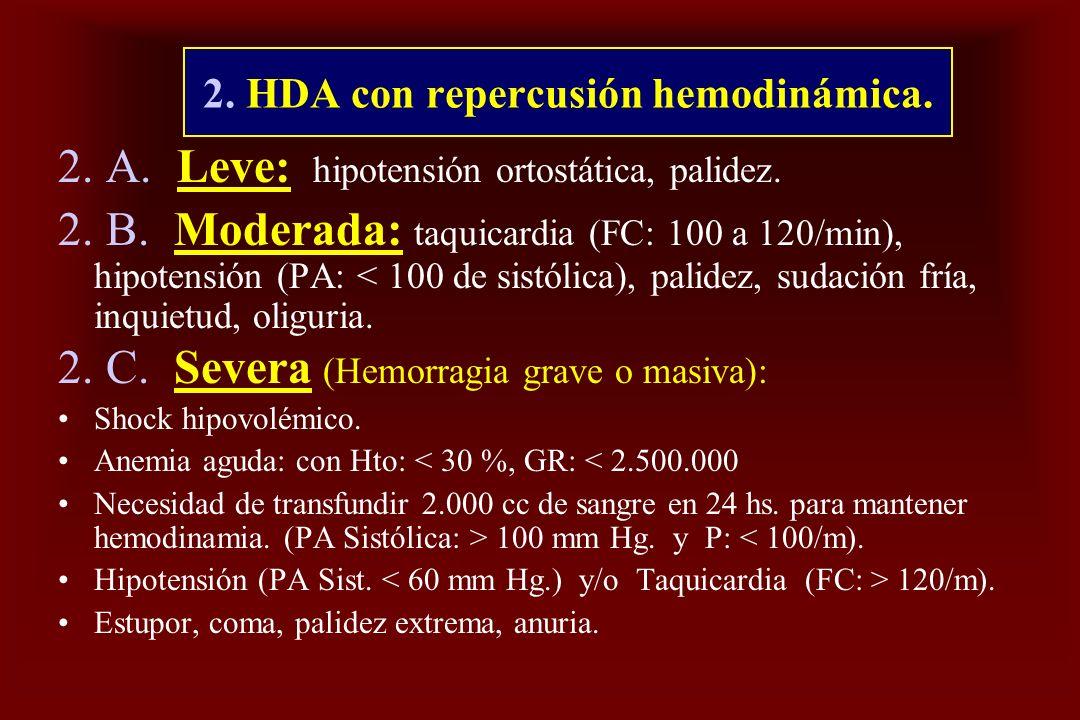 2. HDA con repercusión hemodinámica.