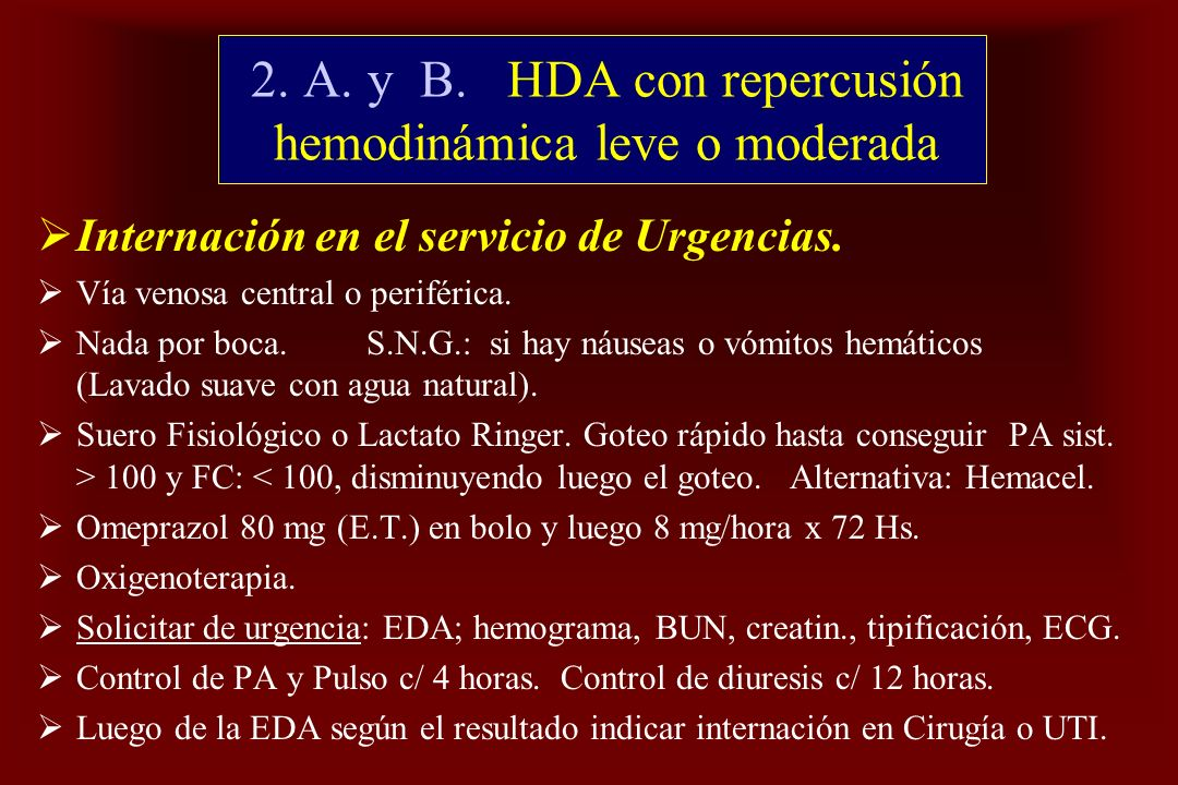 2. A. y B. HDA con repercusión hemodinámica leve o moderada
