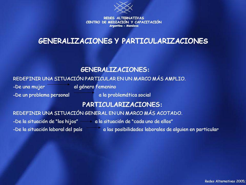 GENERALIZACIONES Y PARTICULARIZACIONES