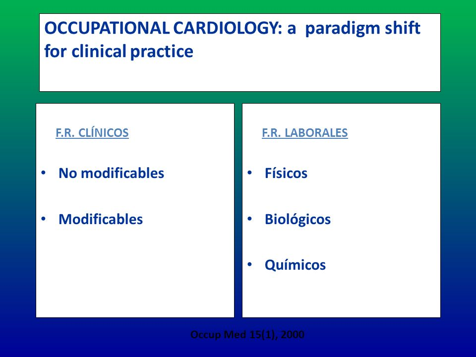 OCCUPATIONAL CARDIOLOGY: a paradigm shift for clinical practice